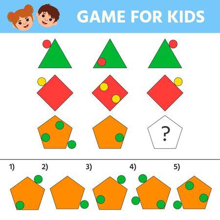 Education logic game for kids development of logic iq. Kids activity sheet.  Geometric figure.  Children funny riddle entertainment