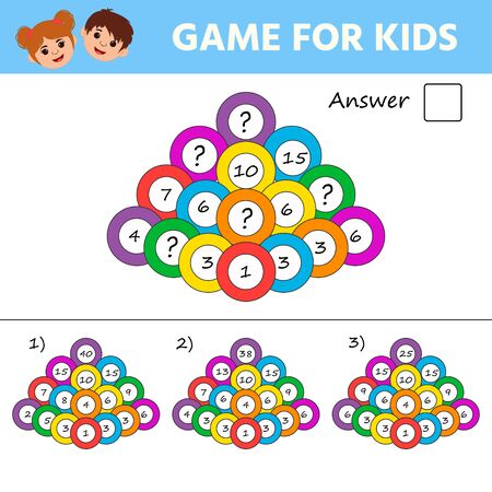 Education logic game for kids development of logic iq. Kids activity sheet. Mathematical addition pyramid. Children funny riddle entertainment Фото со стока - 139834221