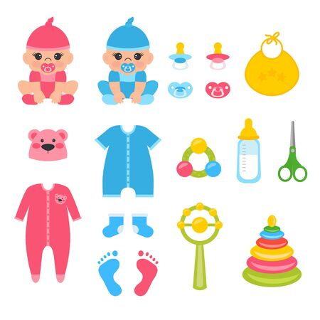 Set of baby accessories for baby girl, boy. Vector illustration for newborns - cloths, baby soother, toys. Icons can use for greeting card, poster, flyer, banners.