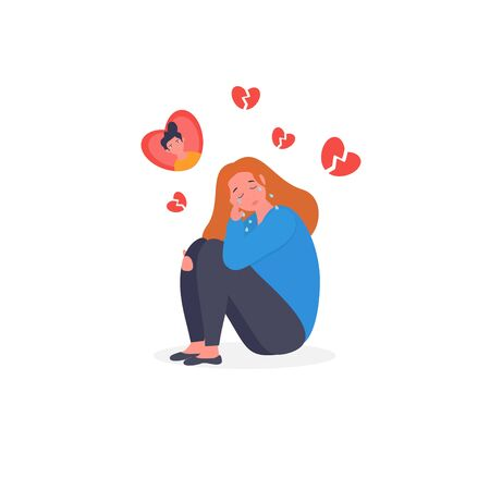 Sad, Frustrated, Depressed woman flat character.  Teenager Puberty Problem. Broken heart, unhappy love. The concept of frustration, depression, psychotherapy. Illustration