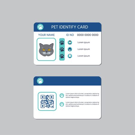 Cat id card design.Vector illustration template. Scanning qr code on a card