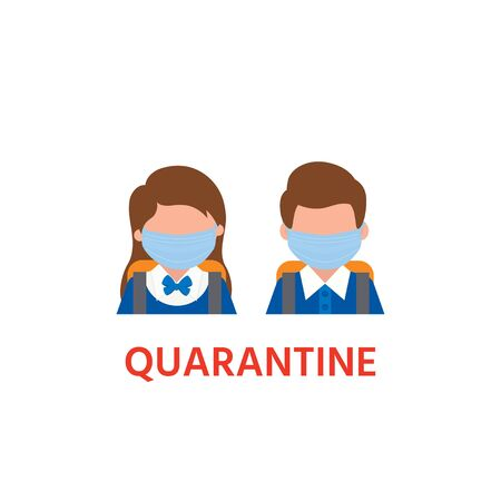 Schoolboy and schoolgirl icon in a mask. COVID - 2019. Concept of quarantine in school. Illustration can use for landing page, web, mobile app, banner, poster, flyer, background Ilustração