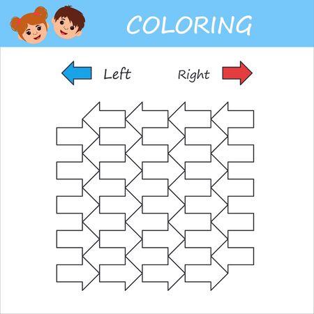 Education logic game for preschool kids. Kids activity sheet. Coloring book. Children funny riddle entertainment. Vector illustration Vettoriali