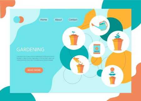Illustration of Stages of growth of a flower from seed. Watering plants in a pot. Flat style, vector illustration for decoration web page Ilustração