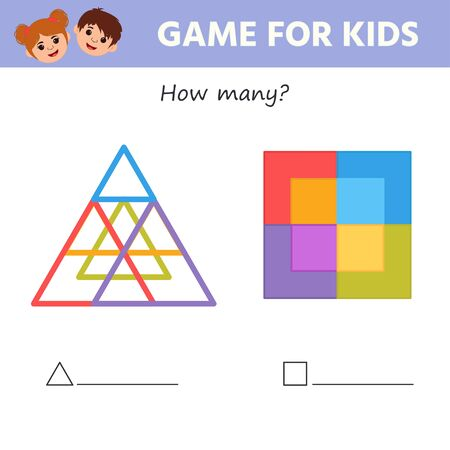 Education game for kids development of logic iq. How many triangles and squares in the figure. Kids activity sheet. Children funny riddle entertainment