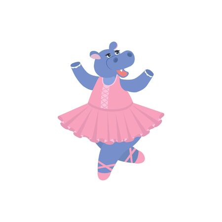 Cute cartoon hippo in ballerina dresses. Vector illustration Can be used for t-shirt print, kids wear fashion design, baby shower invitation card. 向量圖像