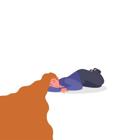 Unhappy Woman in depression.  Fatigue syndrome, PTSD, depression, sorrow, sadness, mental disorder, illness. Psychological support, help, psychotherapy. Vector illustration for web banner, infographics, presentation