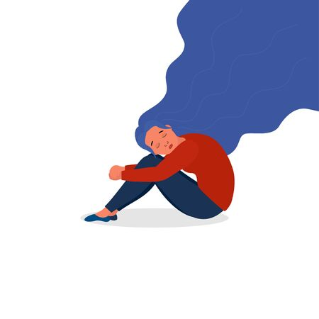 Sad young woman with lowered head hugging herself with her hands on her knees.. Fatigue syndrome, PTSD, depression, sorrow, sadness, mental disorder, illness. Psychological support, help, psychotherapy Illustration