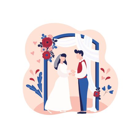 Marriage ceremony, wedding day, bride and groom and flower arch. Newlyweds, husband and wife. Vector illustration can use for landing page, web, mobile, app, banner, poster, flyer 矢量图像