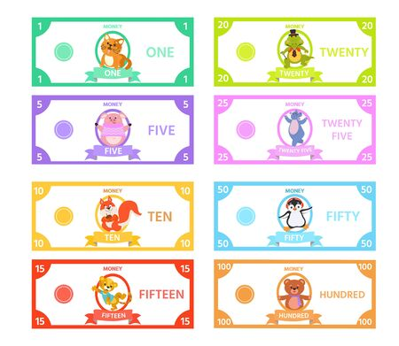 Vector set of paper money for children's games with cute animal Pig, Cat, a hippopotamus, penguin, squirrel, tiger, crocodile. Printable Activity sheet for kids.