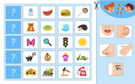 Educational worksheet for kids. Game for Kids. Match of senses and objects. The picture of senses and objects - touch, taste, hearing, sight, smell