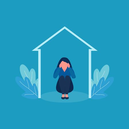 Girl depression. Sad depressed young woman hide in oneself in home. Vector illustration. Stress and loneliness, personal space, complexes. Psychological help concept