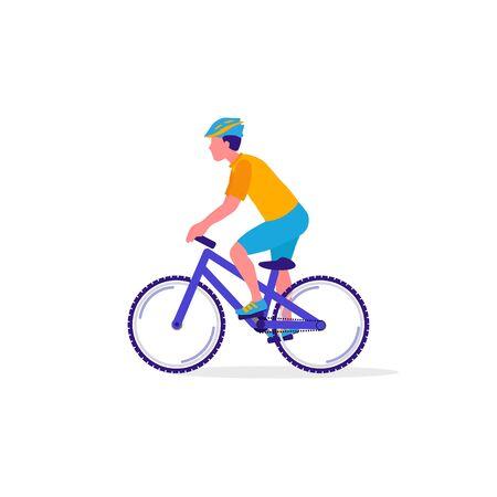 Cycliste à vélo. Sport, concept d'activité de loisirs. Mode de vie sain et remise en forme. Illustration vectorielle Vecteurs