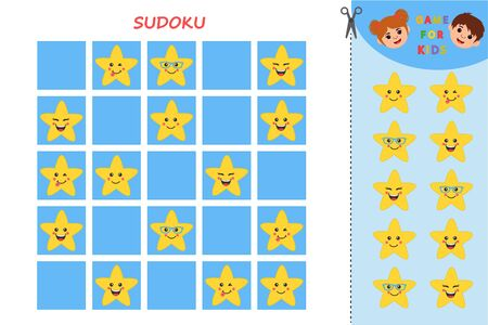 Educational worksheet for children. Sudoku with cute stars. Worksheet for kids learning forms. Vector illustration