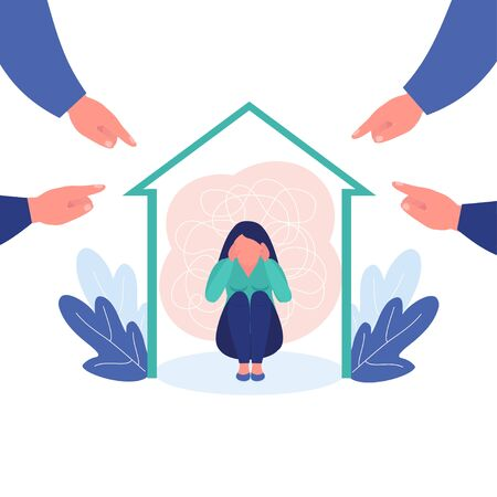 Girl depression surrounded by hands with index fingers pointing at her. Concept of guilt, public censure and victim blaming.Vector illustration. Psychological help concept