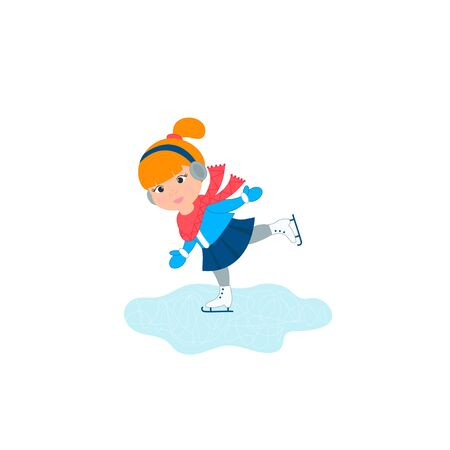 Cute little girl in warm clothes skating happy. Vector Illustration 일러스트