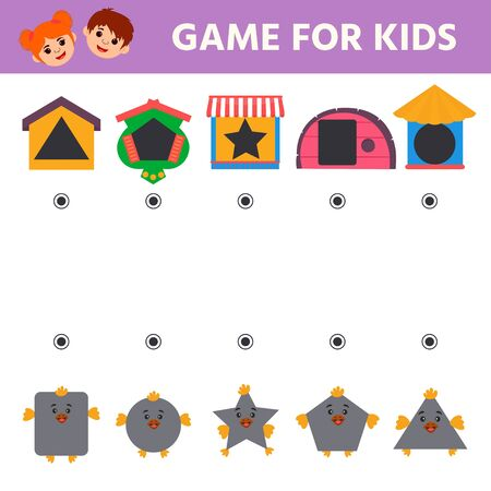Educational children game. Help the chick find its birdhouse. Learning geometric shapes. Activity for preschool years kids.
