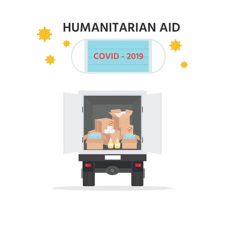 Covid-19 virus. Coronavirus Epidemic. Humanitarian Support: masks, sanitizer gel, toilet paper. Goodwill Mission in Suffering from Coronavirus Epidemic. Doctor with box in hand.