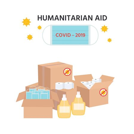 Covid-19 virus. Coronavirus Epidemic. Humanitarian Support: masks, sanitizer gel, toilet paper. Goodwill Mission in Suffering from Coronavirus Epidemic.