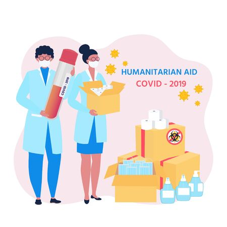 Covid-19 virus.  Humanitarian Support: masks, sanitizer gel, toilet paper. Goodwill Mission in Suffering from Coronavirus Epidemic. Doctor with box in hand.