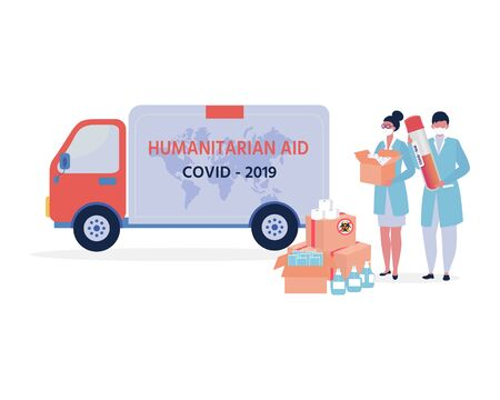 Covid-19 virus. China Coronavirus Epidemic. Humanitarian Support: masks, sanitizer gel, toilet paper. Goodwill Mission in Suffering from Coronavirus Epidemic. Doctor with box in hand.
