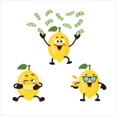 Cute Lemon with money.  Icon Set. Vector illustration cartoon fruit character set on white background