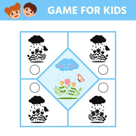 Game for kids. Find the right shadow. Preschool garden themed puzzle. Cute floral educational riddle. Worksheet for printing. Vector illustration