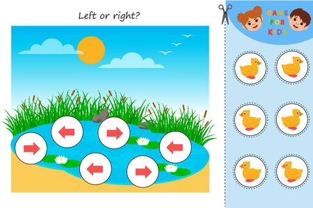 Educational game for kids. Left or right pond with ducks. Developing kids attentiveness and spatial mathematical thinking skills. Printable worksheet. Vector Illustration