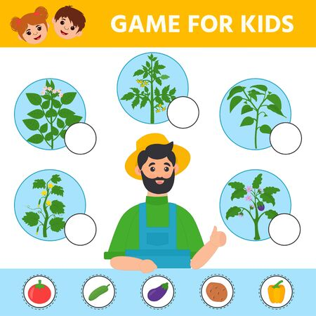 Education logic game for preschool kids. Kids activity sheet. Find the matching plant and vegetable. Vegetables: potato, tomato, cucumber, eggplant, pepper. Children funny riddle entertainment