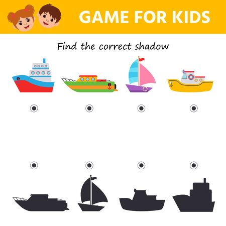 Kids learning collection. Maths game. Find the correct ship shadow. Preschool worksheet activity. Children funny riddle entertainment, task for the development of logical thinking