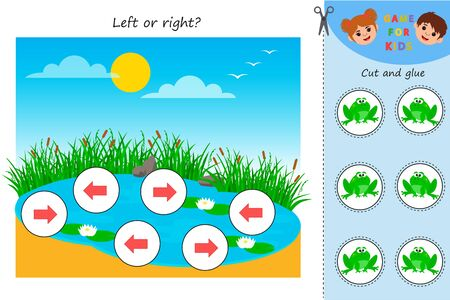 Educational Maths game for kids. Left or right Pond with frogs. Developing kids attentiveness and spatial mathematical thinking skills. Preschool worksheet activity.
