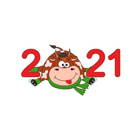 Symbol new year 2021 - Cartoon funny  bull, cow. Christmas illustration template for poster, postcard or calendar, invitation 向量圖像