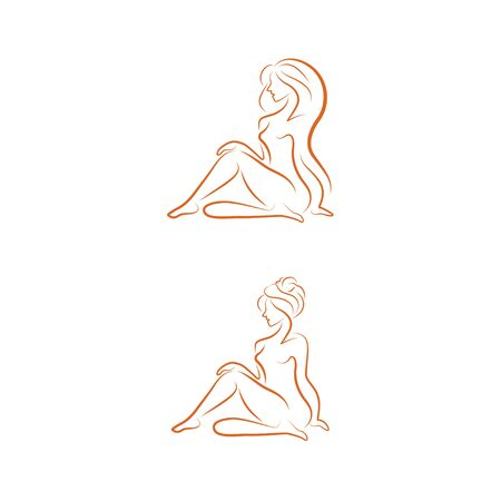 Beautiful woman linear icon. Vector illustration. idea for cosmetics or spa salon isolated on white background