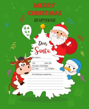 letter to Santa template with symbol of 2021 - bull, snowman and santa. Printable page for wish list on New Year. Christmas illustration
