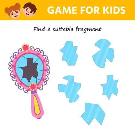 Game for kids. Educational page for children on addition and subtraction. Broken mirror. Find the Shard. Printable  worksheet activity. Trains attention and concentration 向量圖像