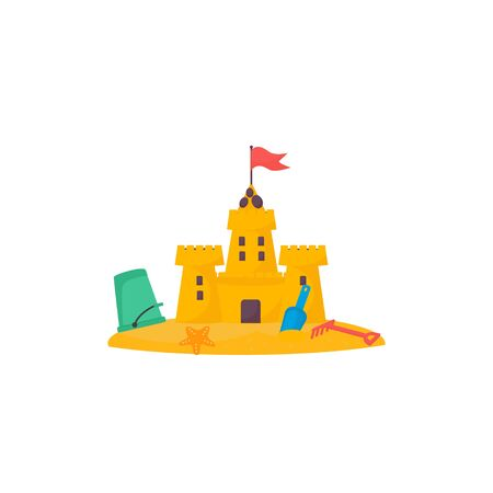 Sand castle with a bucket with a shovel and a rake. Vector cartoon illustration style can use for greeting card, decor, banner, sticker, T-shirt