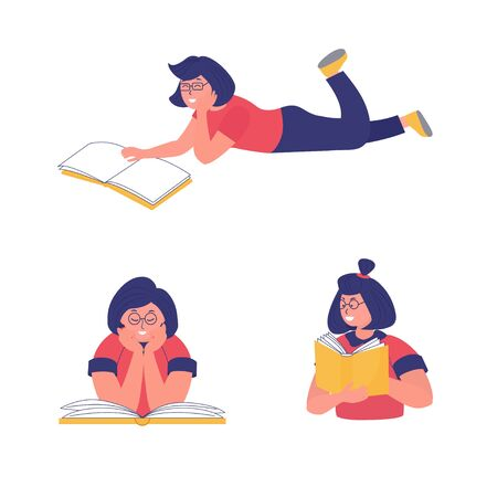A young Woman read a book, set icon.  Concept of online reading or library, e book, book club, online education. Vector  illustration for banner, flyer, ad 向量圖像