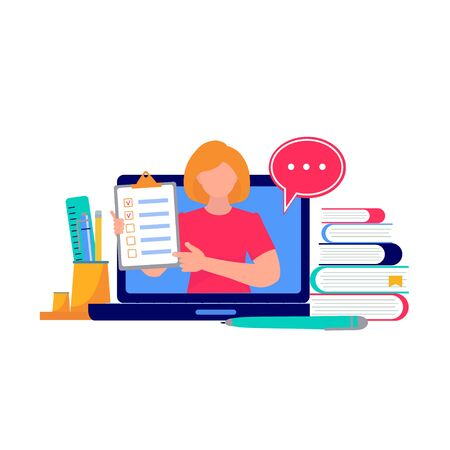 Distance Learning. Teacher on Monitor. Online Education and E-Learning Concept. Self isolation, quarantine due to coronavirus prevention. Stay at home. Vector Illustration for web page, baner,  poster, card 向量圖像