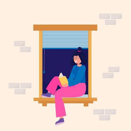 A young Woman read a book.  Stay at home. Quarantine. Recreation. Vector  illustration for banner, flyer, ad