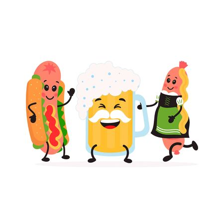 Cute kawaii Glass of beer and a sausage and Hot Dog. Friends forever. Vector cartoon illustration for postcard, banner, flyer, stickers, advertising