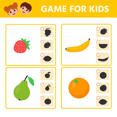 Educational worksheet for children. Game for Kids. Find matching item and shadow. Worksheet for kids learning forms. Logic puzzle game. Vector illustration 向量圖像
