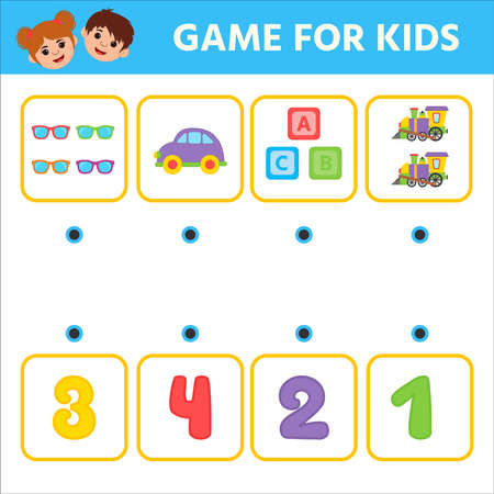 Education logic game for preschool kids. How many objects task, Puzzle. lotto. Learning mathematics, numbers. Kids activity worksheet. 向量圖像
