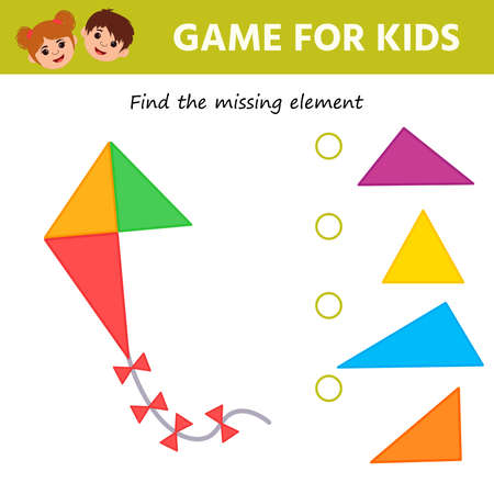 Math Game for children task for the development of logical thinking. Puzzle game with colorful details. Kite.  Education developing worksheet. Vector illustration