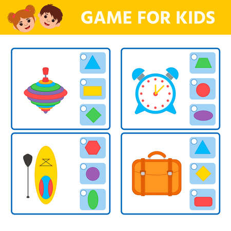 Educational worksheet for children. Game for Kids. Match of geometric figures and objects. Triangle, square, circle, rectangle. Worksheet for kids learning forms. Logic puzzle game