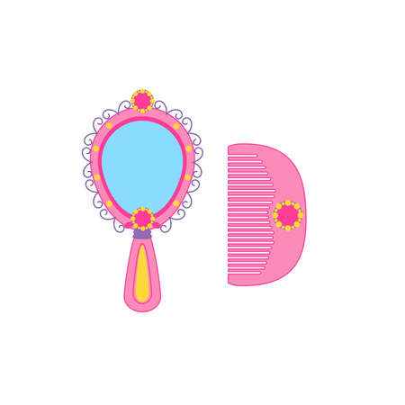 Cute hand mirror with shining gems and diamonds and hairbrush, icon for little girl. Vector illustration  向量圖像