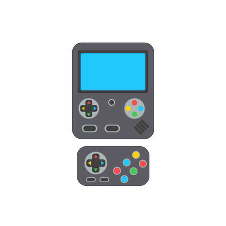Vector game console and  joystick in white background. Vector illustration