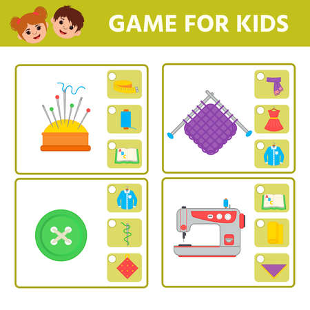 Educational worksheet for children. Game for Kids. Find matching item. Activity  Worksheet for kids learning forms. Logic puzzle game. Vector illustration