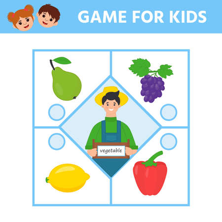 Game for Preschool Children. Find matching item.  Connect vegetable. Activity page for kids. Children funny riddle entertainment. Logic puzzle game