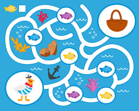 Vector maze game for preschool children. Learn count. Help the pelican collect fish. Logic puzzle game. Activity  Worksheet for kids learning forms.