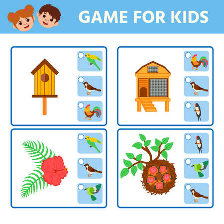 Game for Preschool Children. Find matching item.  Visual puzzle with birdhouses, birds. Activity page for kids. Children funny riddle entertainment. Logic puzzle game
